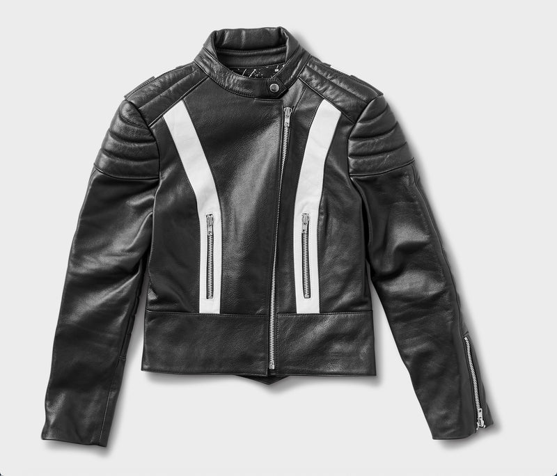 Stellar, Moto, functional art, moto gear, MOTO rally t-shirt, neckline, cotton, vintage, short sleeve, protective wear, functional fashion, motorcycle, shirt, tee, retro, fashion, jacket,jacket, black, armored, soft, airflow, resistant, strong, STARFIELD MX Armored Leather Jacket BLACK/WHITE