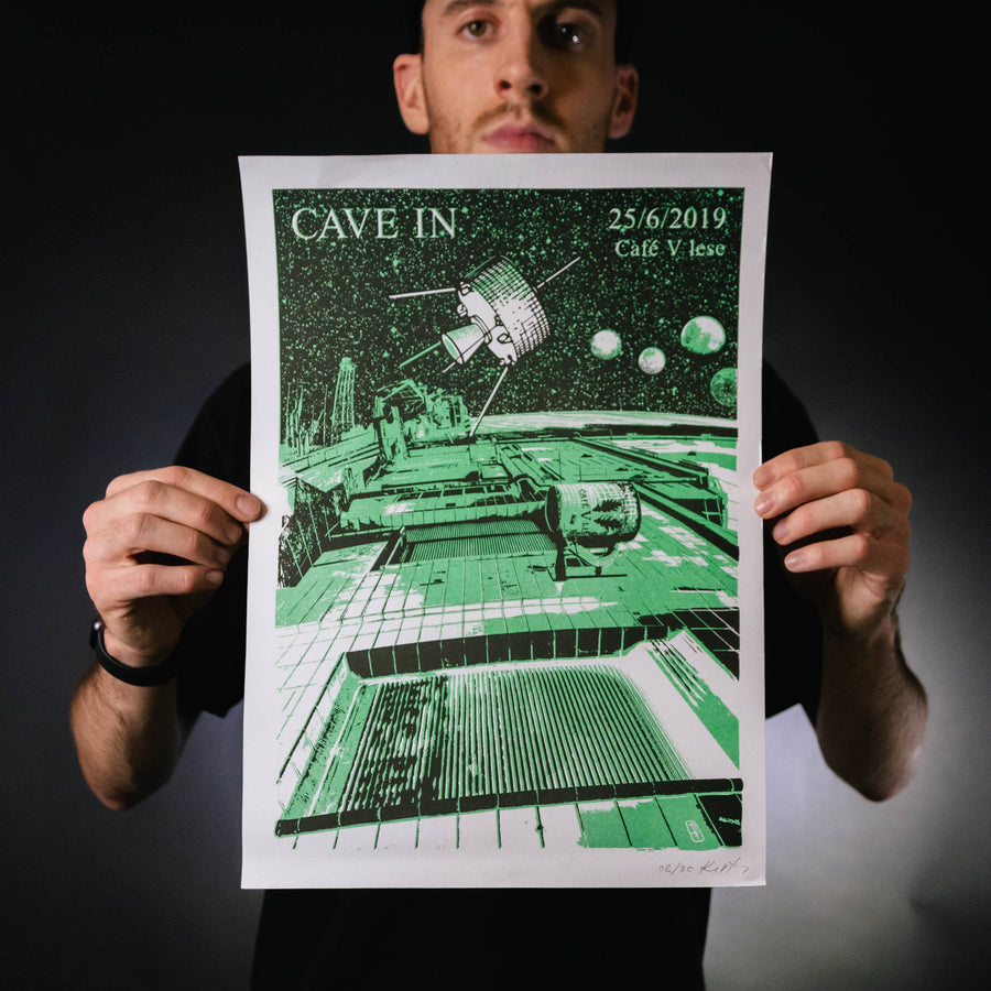 "Cave In ""25/6/2019 Cafe V lese"" Screen Print"