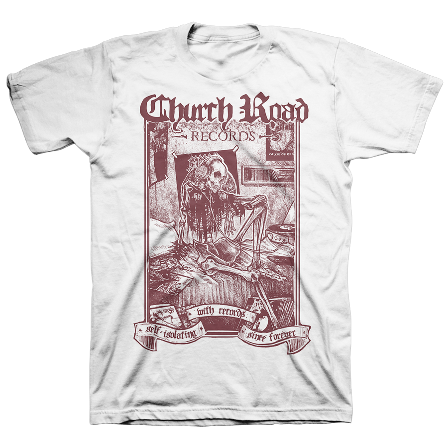 "Church Road ""Logo Burgundy"" White T-Shirt"