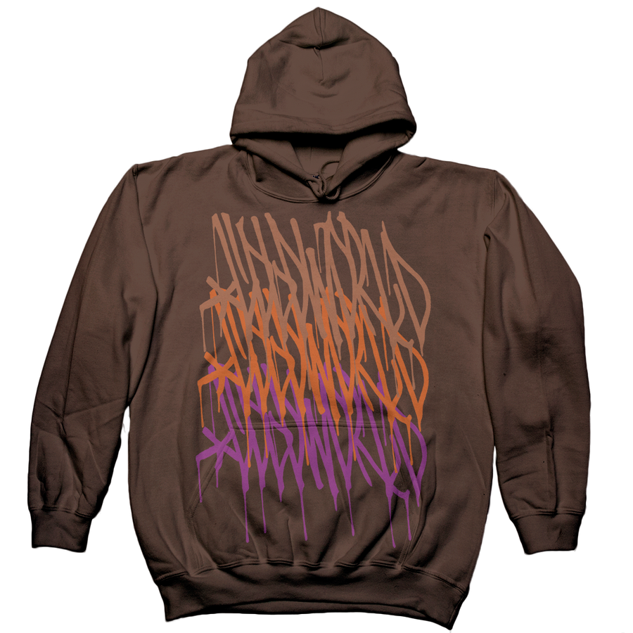 "Cold World ""Logo Repeat"" Brown Hooded Sweatshirt"