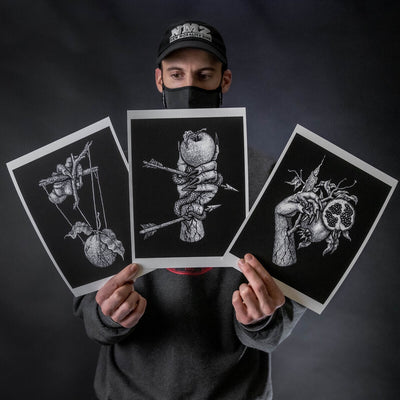 "Dylan Garrett Smith ""The Pain"" Mini Print Set of 3"