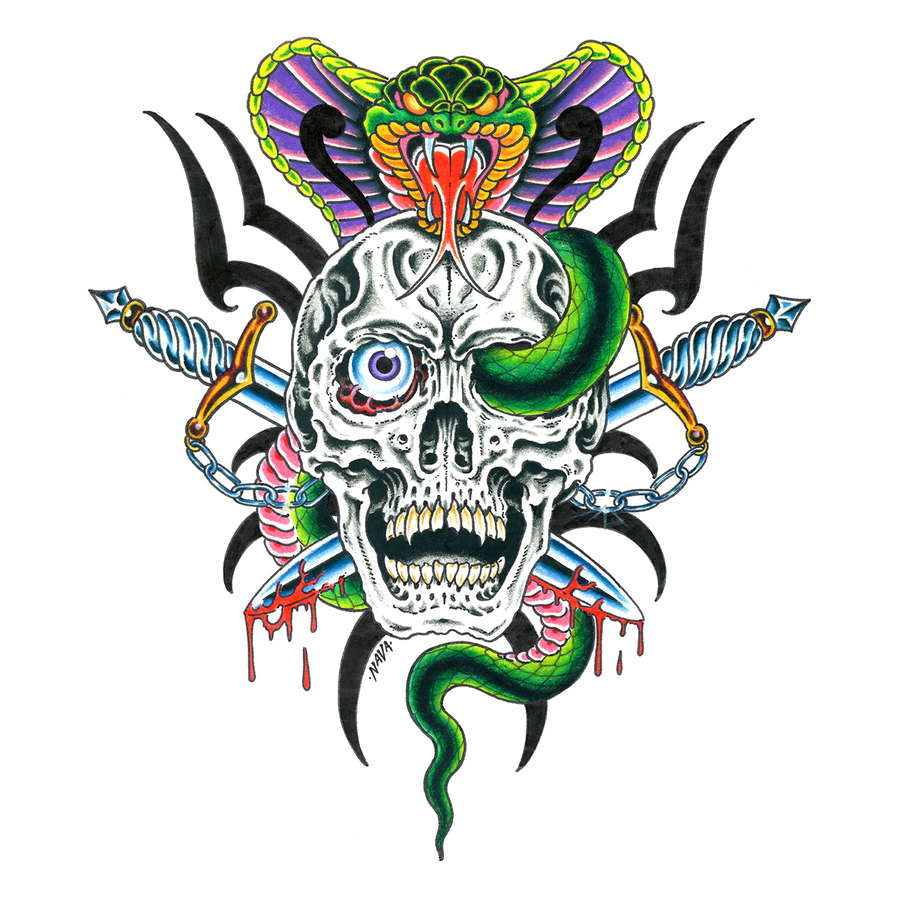 "Marc Nava ""Cobra and Skull"" Giclee Print"