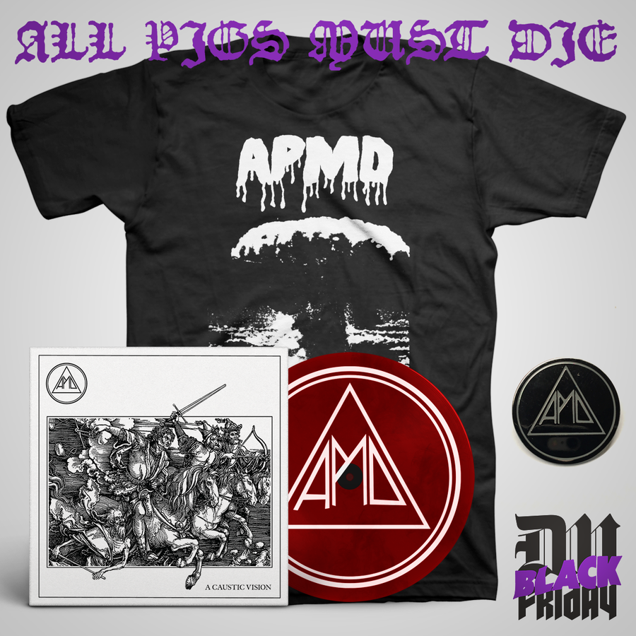 "All Pigs Must Die ""A Caustic Vision + Carnage Shirt + Enamel Pin"" Bundle"