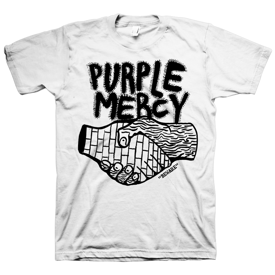 "Purple Mercy ""Beware"" White T-Shirt"