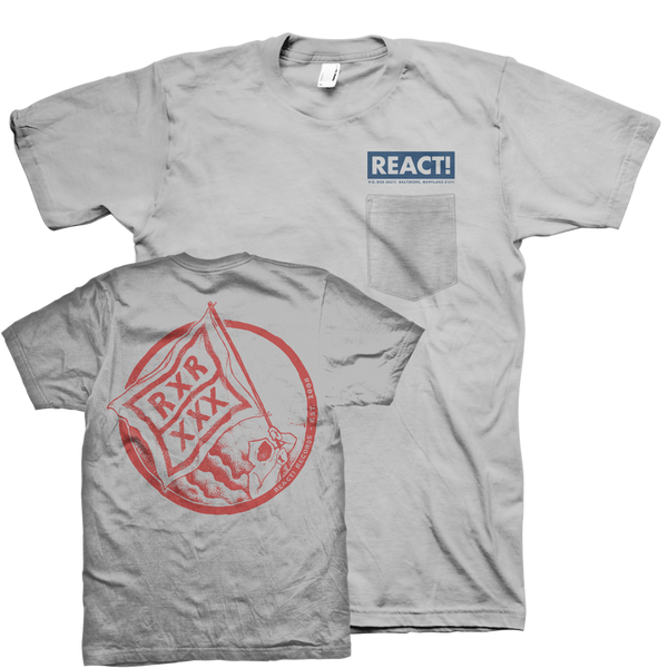 "React Records ""Flag Man Pocket"" Grey T-Shirt"
