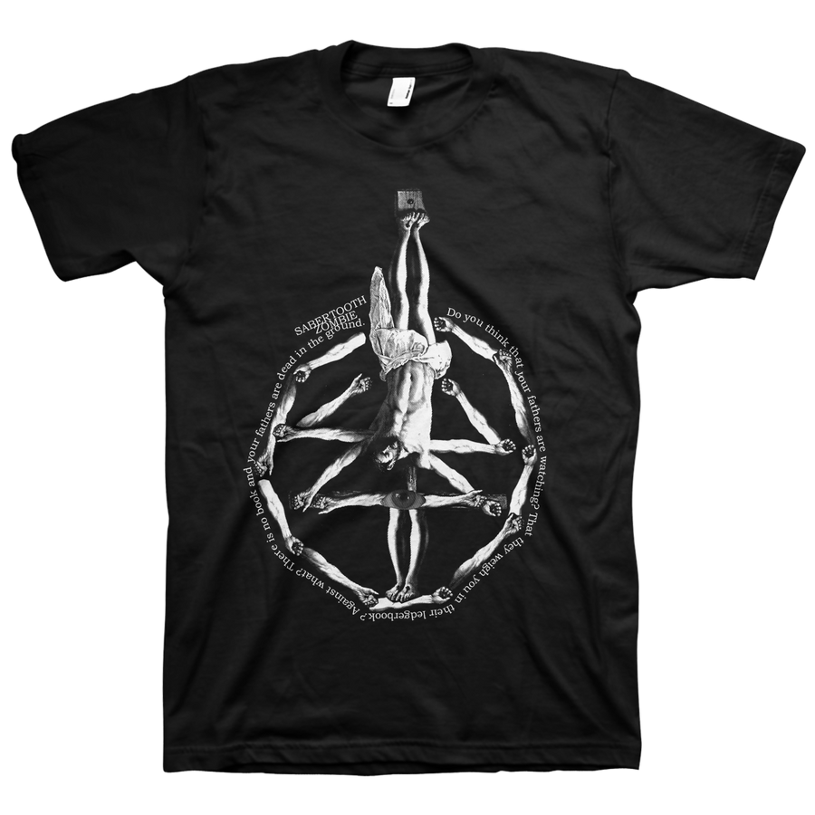 "Sabertooth Zombie ""Christ"" Black T-Shirt"