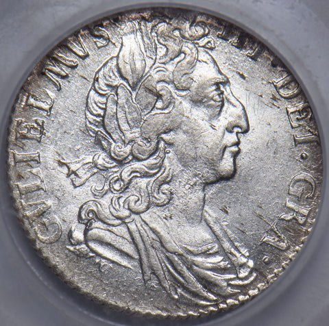 1697 SIXPENCE - SLABBED CGS 75 - WILLIAM III BRITISH SILVER COIN