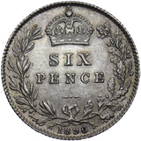 1896 SIXPENCE - VICTORIA BRITISH SILVER COIN - SUPERB