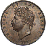 1827 HALFPENNY - GEORGE IV BRITISH COPPER COIN - V NICE