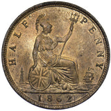 1862 HALFPENNY - VICTORIA BRITISH BRONZE COIN - SUPERB