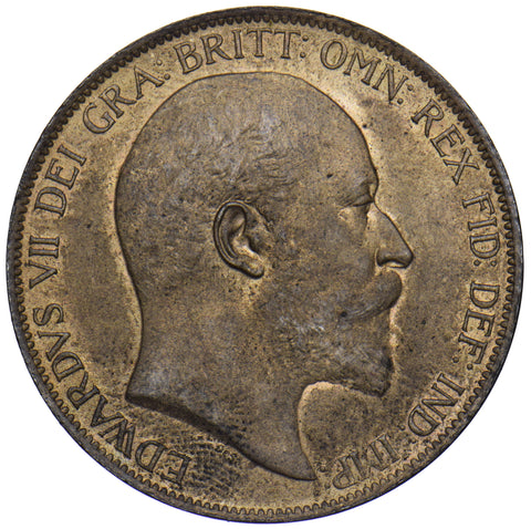 1902 PENNY (LOW TIDE) - EDWARD VII BRITISH BRONZE COIN - SUPERB