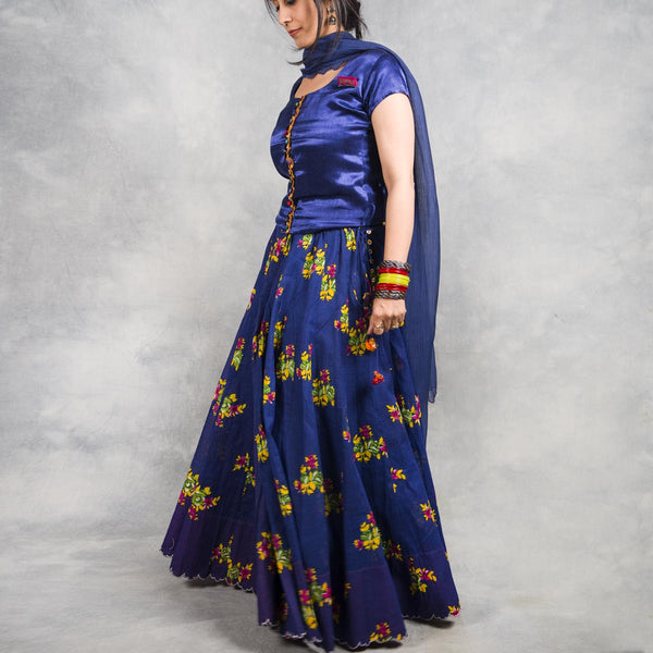 blue cotton printed skirt for women
