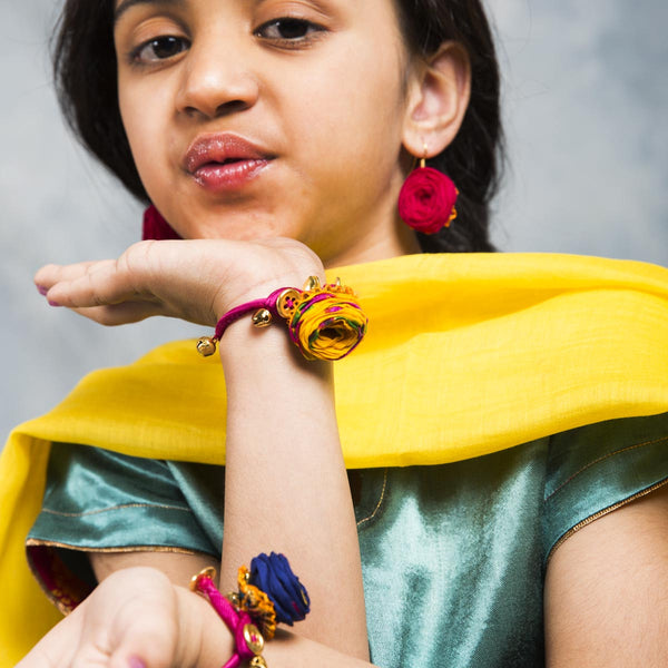 Yellow Fabric Bracelet For Girls