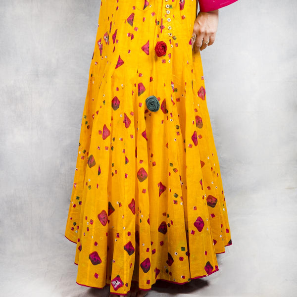 Sunflower Printed Cotton Lehnga
