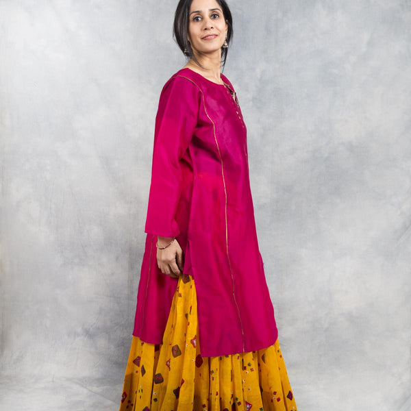 Red Chanderi Kurta for Women