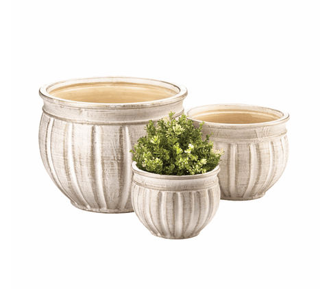 Antique Stone Planter Trio - Flower Pots