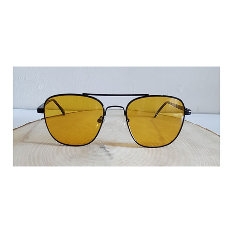 Black Frame Vintage Mustard Glasses