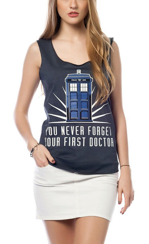 Doctor WHO Tardis -  with back design You Never Forget Your First Doctor Girls Tank Top - moleball