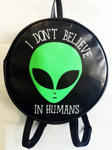 ALIEN - I DON'T BELIEVE IN HUMANS ROUND BACKPACK BAG - moleball