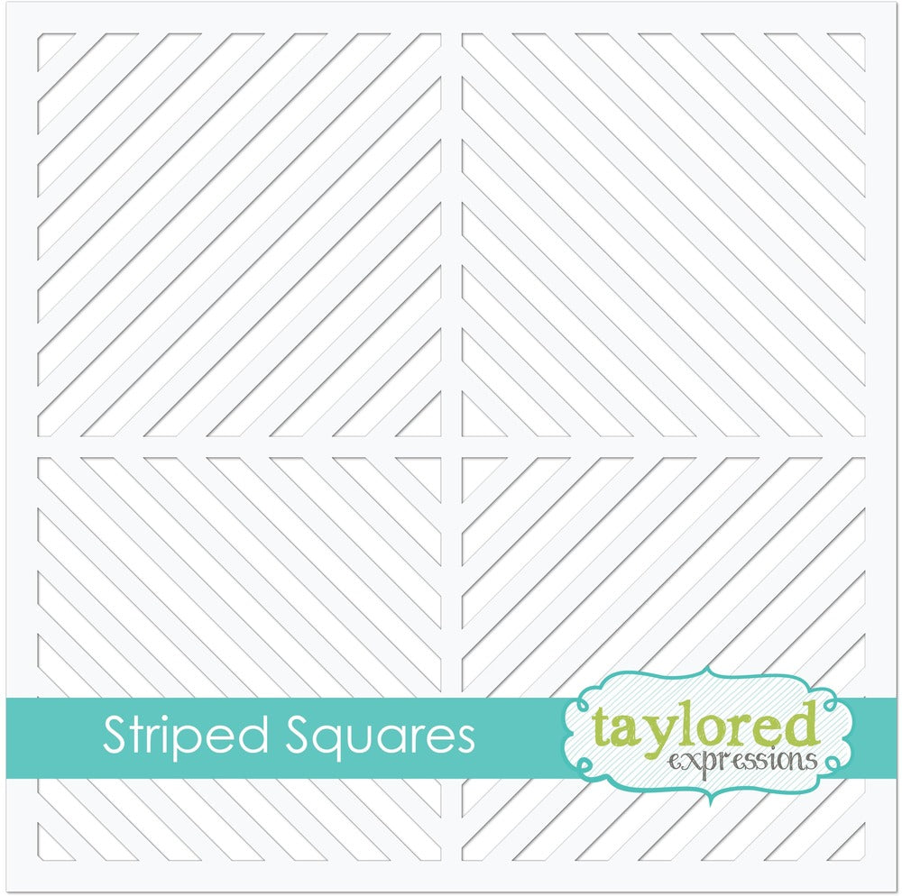 Taylored Expression, 6x6 Designer Stencil, Striped Squares