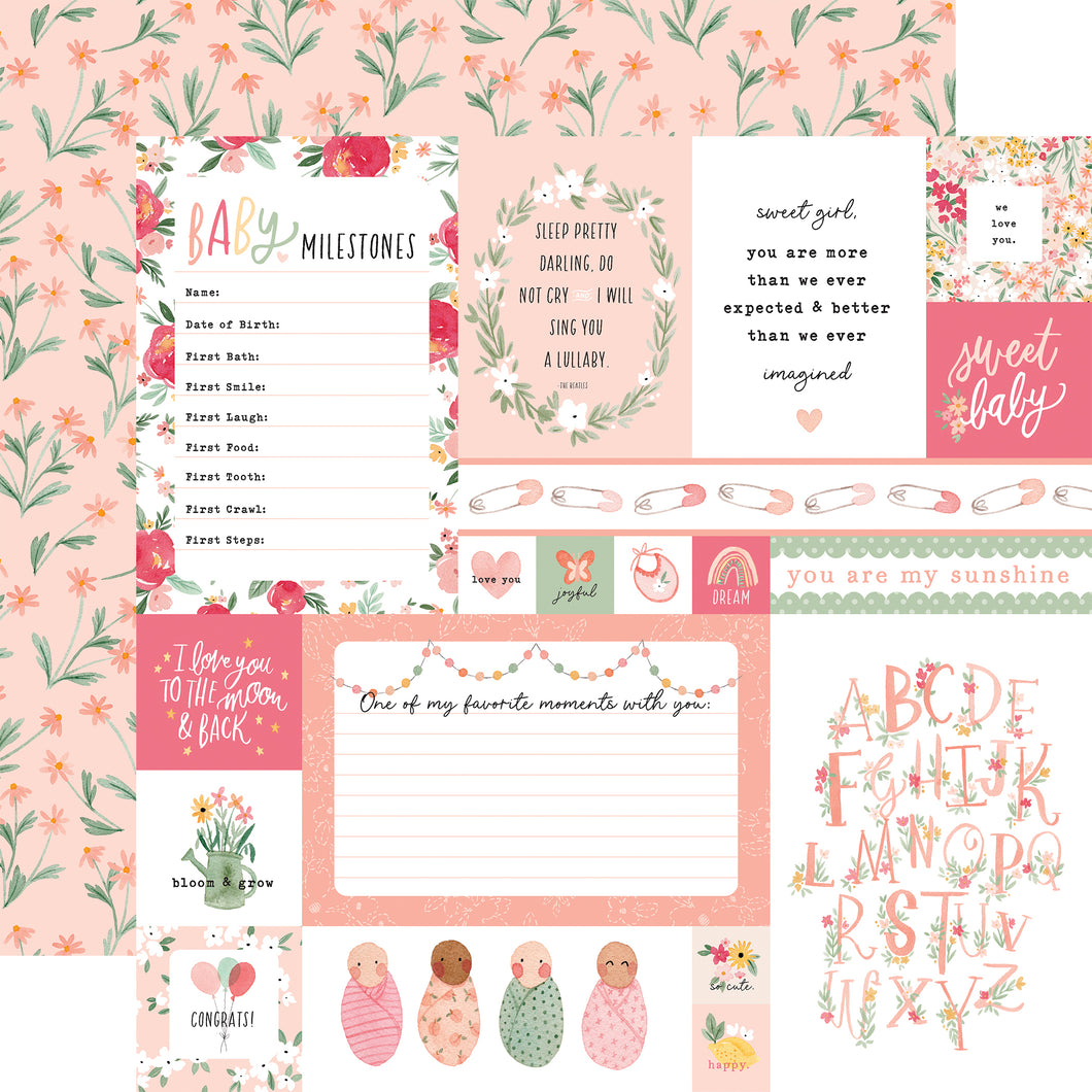 Echo Park, Welcome Baby Girl, Multi Journaling Cards