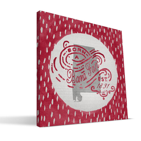 Alabama Crimson Tide Born a Fan Canvas Print