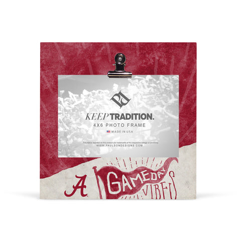 Alabama Crimson Tide Gameday Vibes Picture Frame with Clip