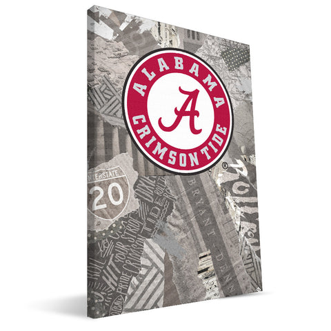 Alabama Crimson Tide Scrapbook Canvas Print Wall Art Image