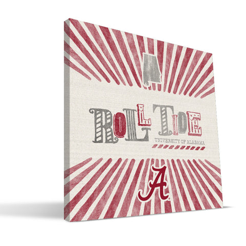Alabama Crimson Tide State Canvas Print