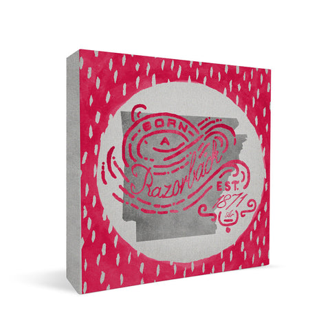 Arkansas Razorbacks Born a Fan Square Shelf Block