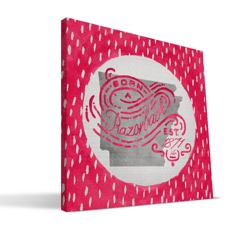 Arkansas Razorbacks Born a Fan Canvas Print