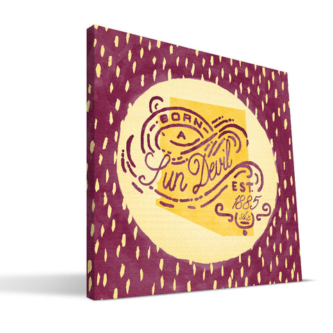 Arizona State Sun Devils Born a Fan Canvas Print