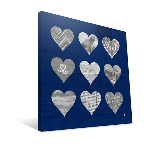 Arizona Wildcats Hearts Canvas Print