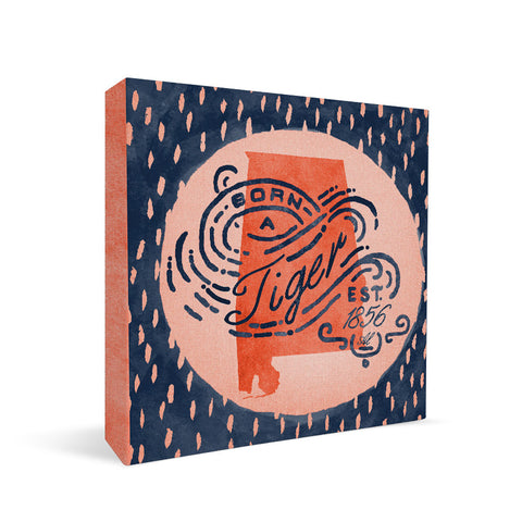 Auburn Tigers Born a Fan Square Shelf Block