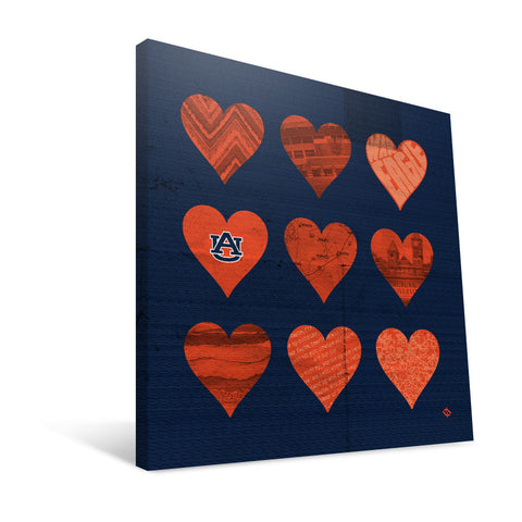 Auburn Tigers Hearts Canvas Print