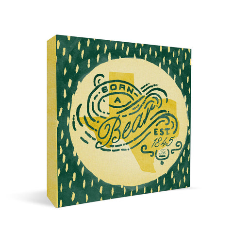 Baylor Bears Born a Fan Square Shelf Block