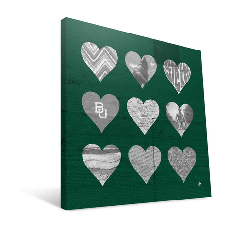 Baylor Bears Hearts Canvas Print