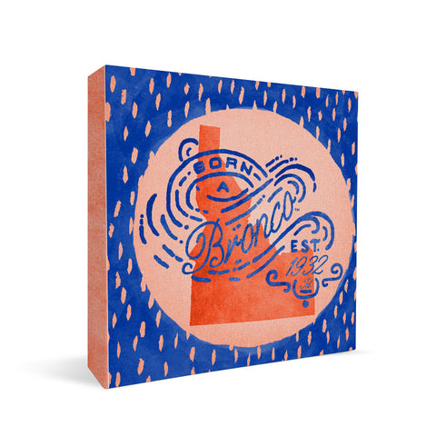 Boise State Broncos Born a Fan Square Shelf Block