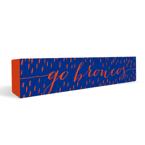 Boise State Broncos Rally Cry Brush Mark Rectangular Shelf Block