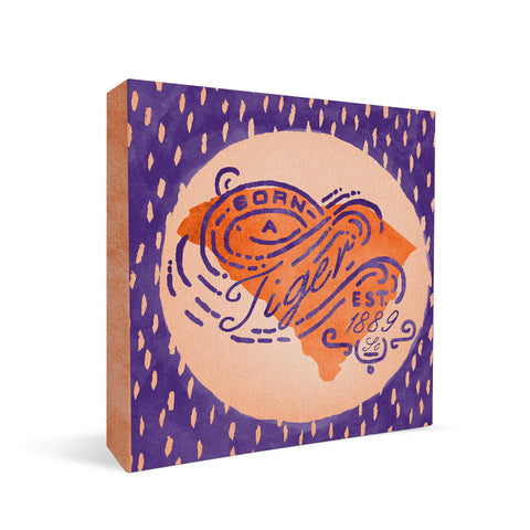 Clemson Tigers Born a Fan Square Shelf Block