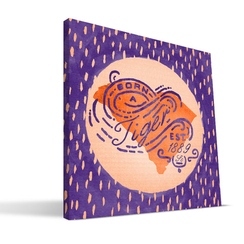 Clemson Tigers Born a Fan Canvas Print