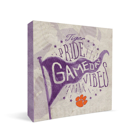 Clemson Tigers Gameday Vibes Square Shelf Block