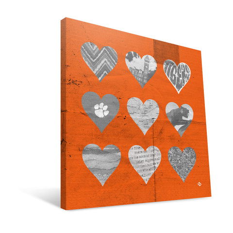 Clemson Tigers Hearts Canvas Print