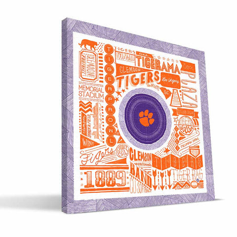 Clemson Tigers Pictograph Canvas Print