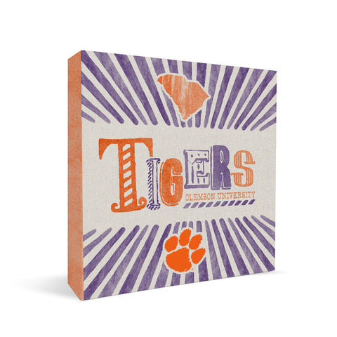 Clemson Tigers State Square Shelf Block