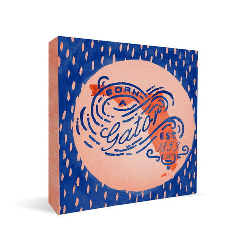 Florida Gators Born a Fan Square Shelf Block