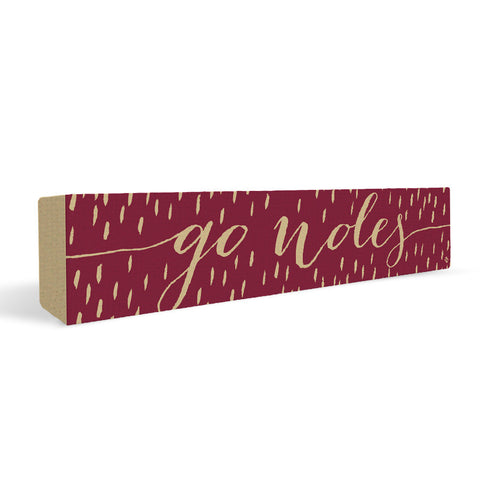 Florida State Seminoles Rally Cry Brush Mark Rectangular Shelf Block