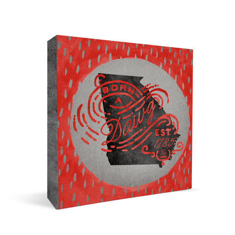 Georgia Bulldogs Born a Fan Square Shelf Block