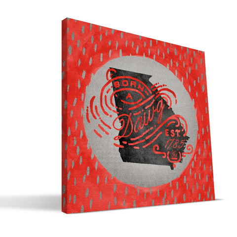 Georgia Bulldogs Born a Fan Canvas Print