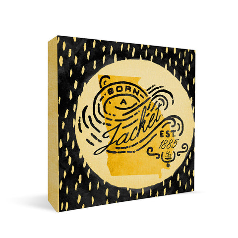 Georgia Tech Yellow Jackets Born a Fan Square Shelf Block